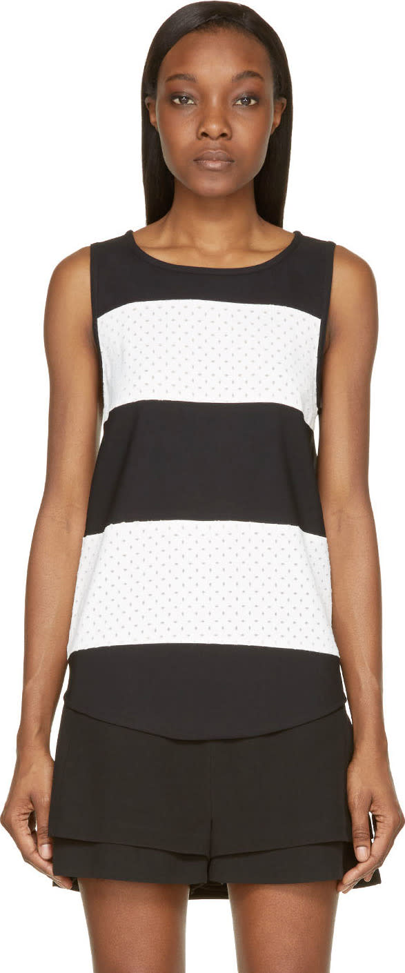 Image of Jay Ahr Black and White Striped Eyelet Tank Top