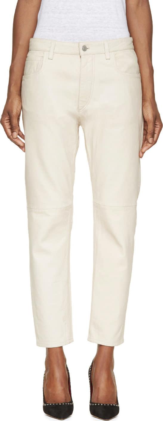 Isabel Marant Etoile Ecru Washed Leather Bay Trousers