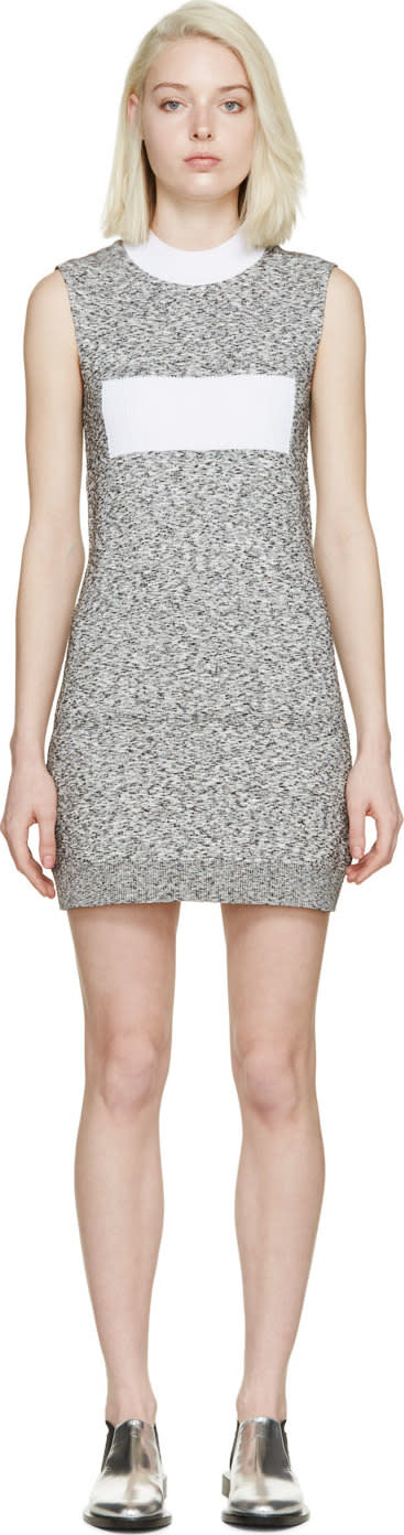 Image of Paco Rabanne Black and White Marled Knit Dress