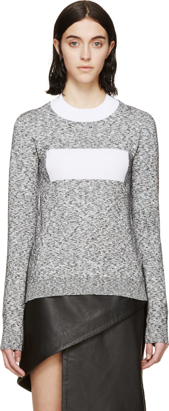 Image of Paco Rabanne Black and White Slub Knit Crewneck Top