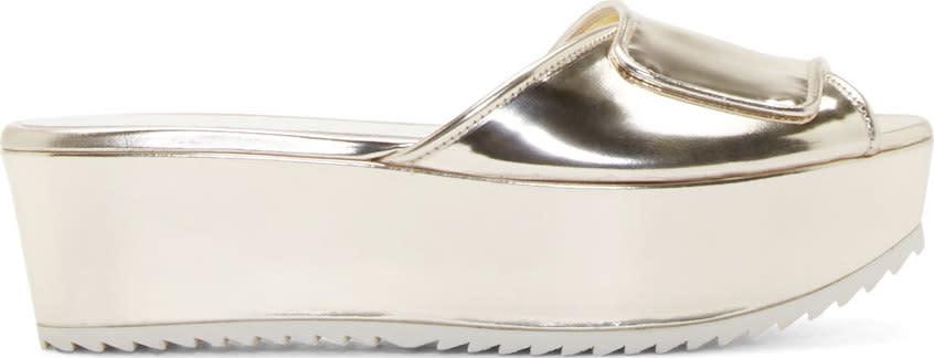 Amelie Pichard Gold Platform Guy Sandals