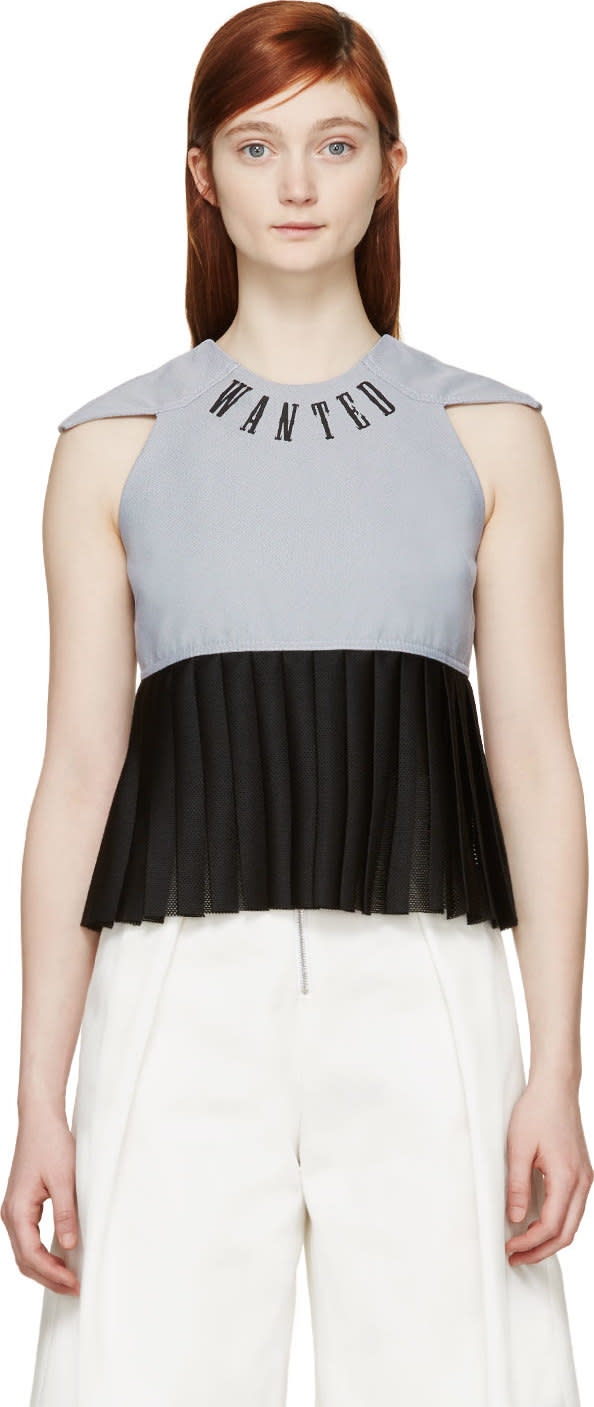 S By S Studio Blue and Black Pleated Logo Top