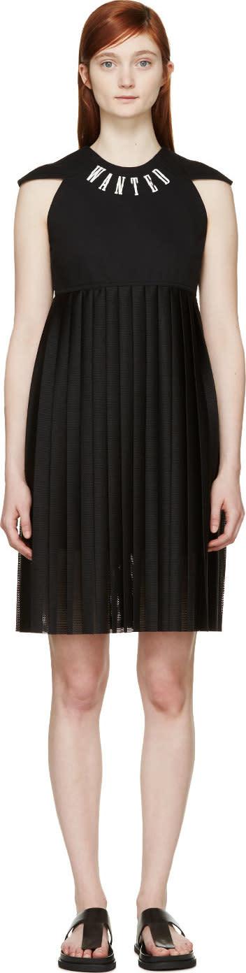 S By S Studio Black Mesh Pleated Logo Dress