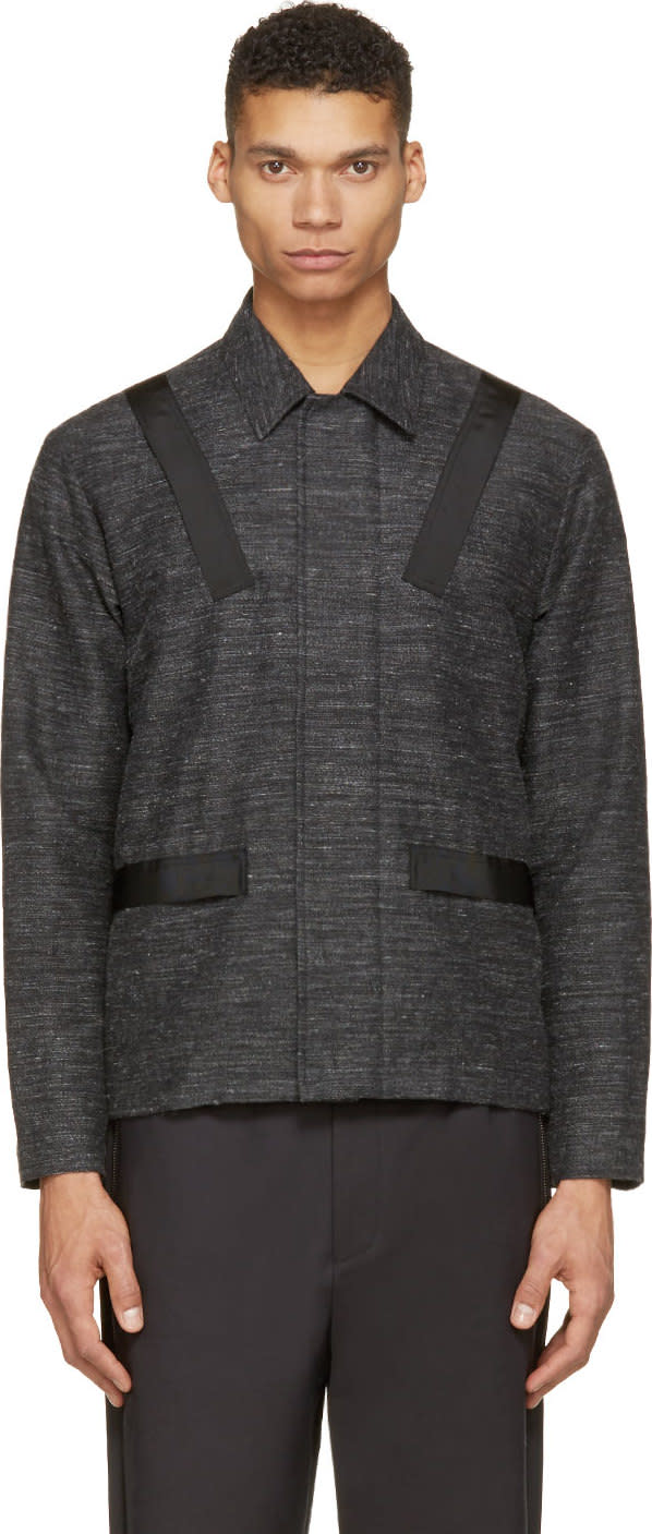 Johnlawrencesullivan Charcoal Slub Banded Jacket