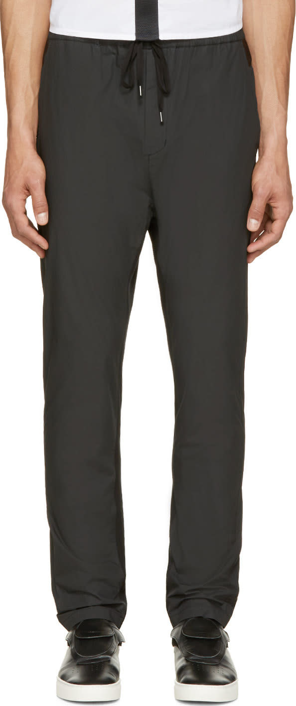 Johnlawrencesullivan Black Coated Cotton Lounge Pants