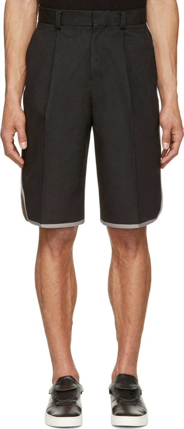 Johnlawrencesullivan Black Perforated Basketball Shorts