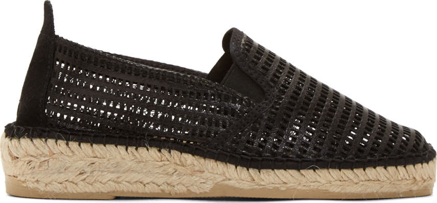 Image of Prism Black Leather Mesh Marroca Espadrilles