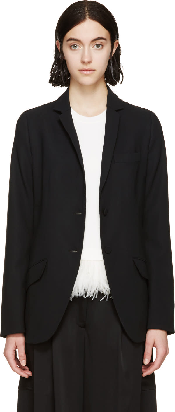 Erdem Black Lace Panel Fletcher Blazer