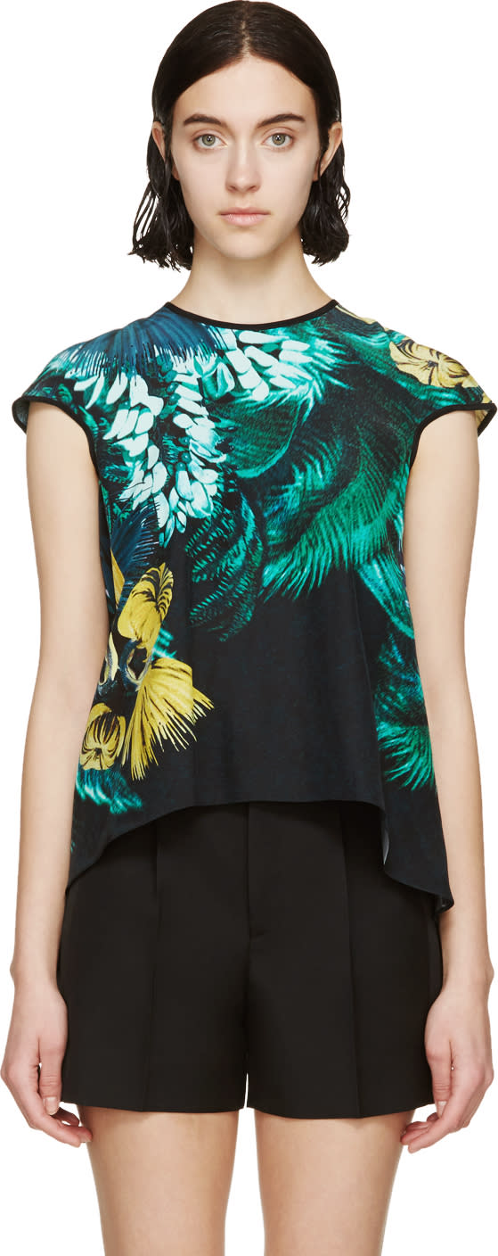 Erdem Green Silk Arue Jungle Top