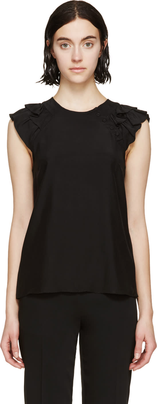 Erdem Black Satin Ruffled Rylan Blouse