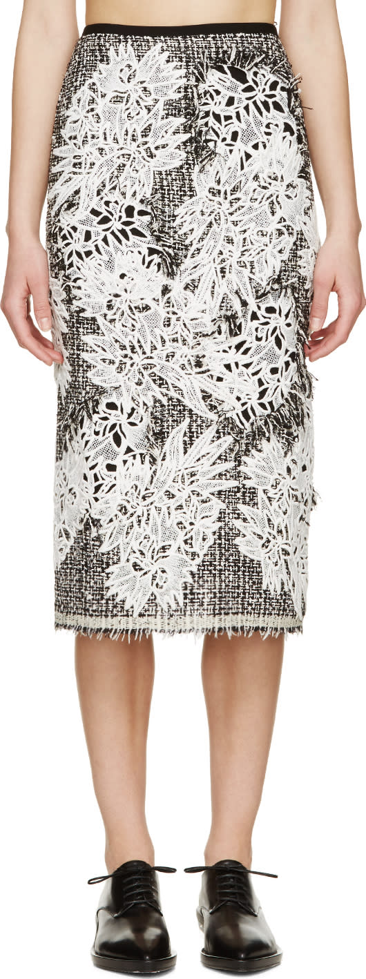 Erdem Black and White Tweed Safia Skirt