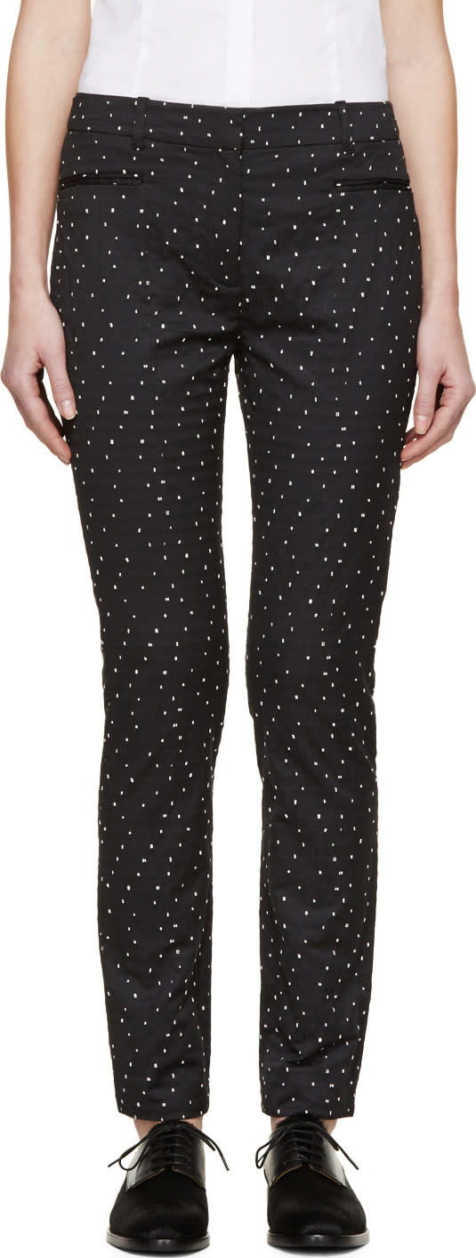 Erdem Black and White Stitched Dot Lenke Trousers