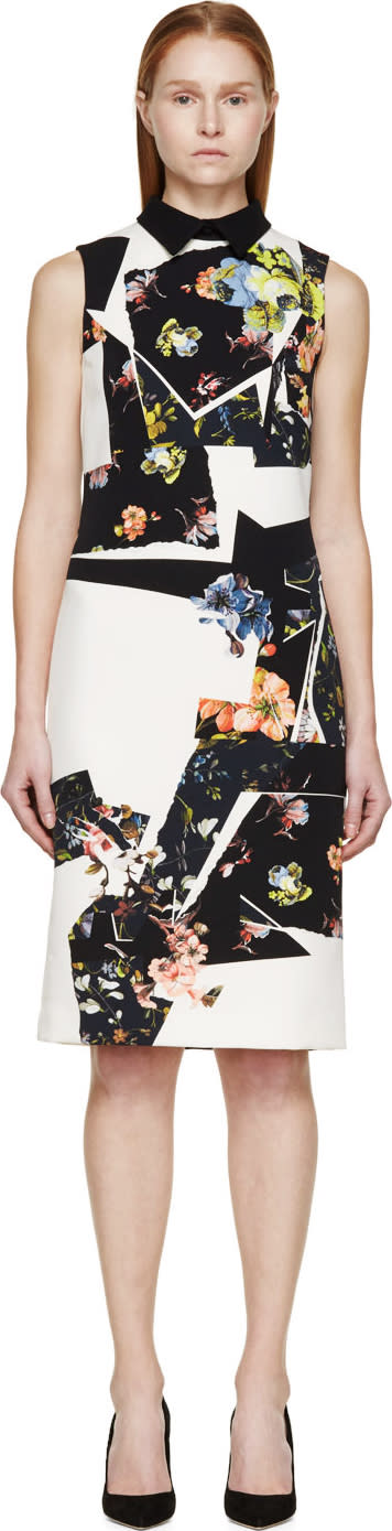 Erdem Navy and Chartreuse Botanical Shard Brennon Shift Dress