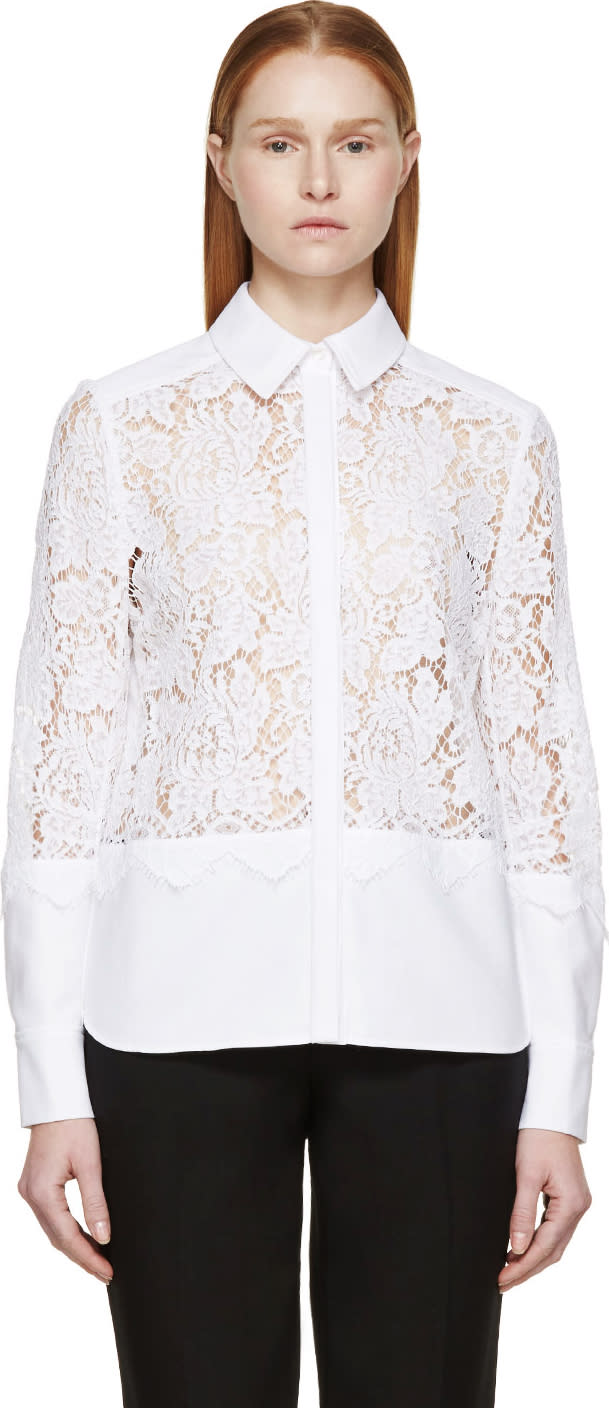 Erdem White Lace Paneled Beatrix Shirt