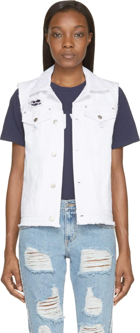 Sjyp White Open-back Destroyed Vest