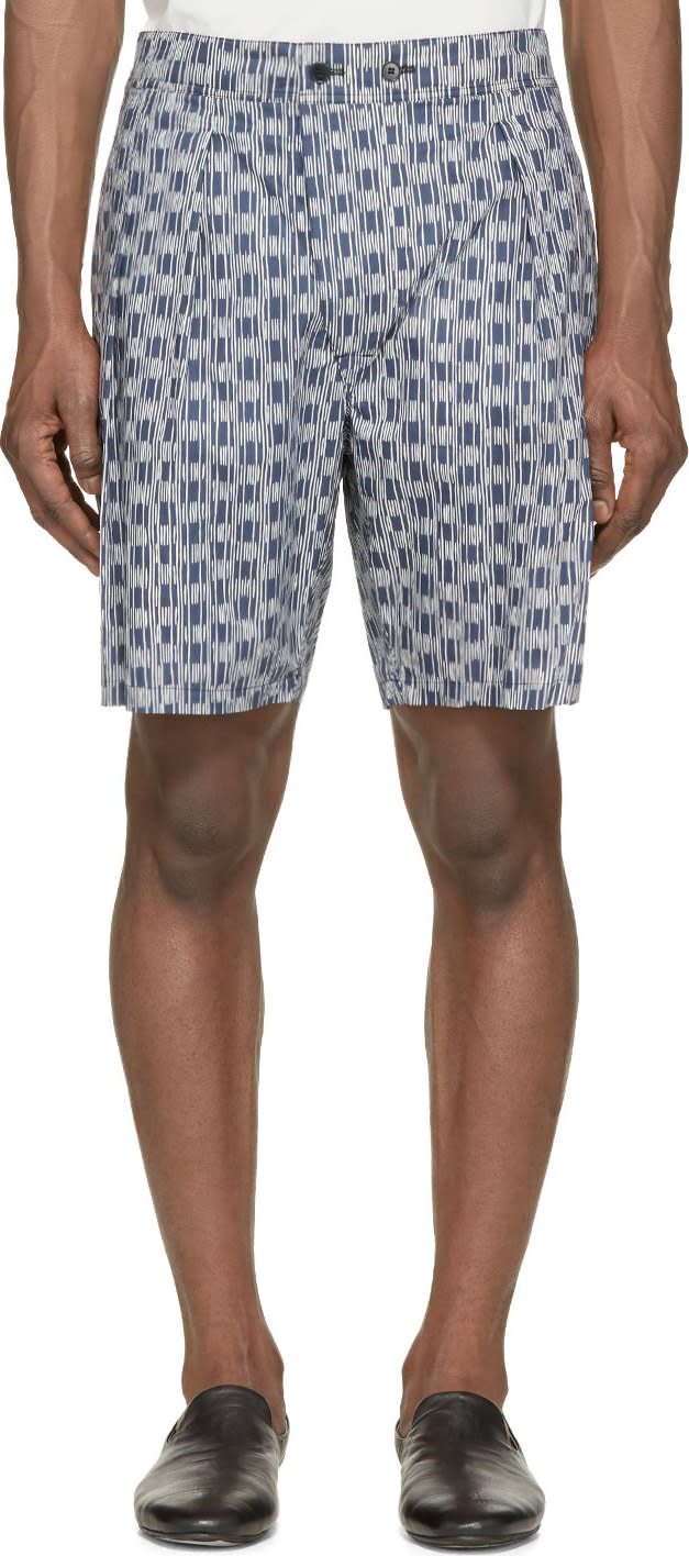 Lemaire Midnight Blue and Ivory Striped Shorts