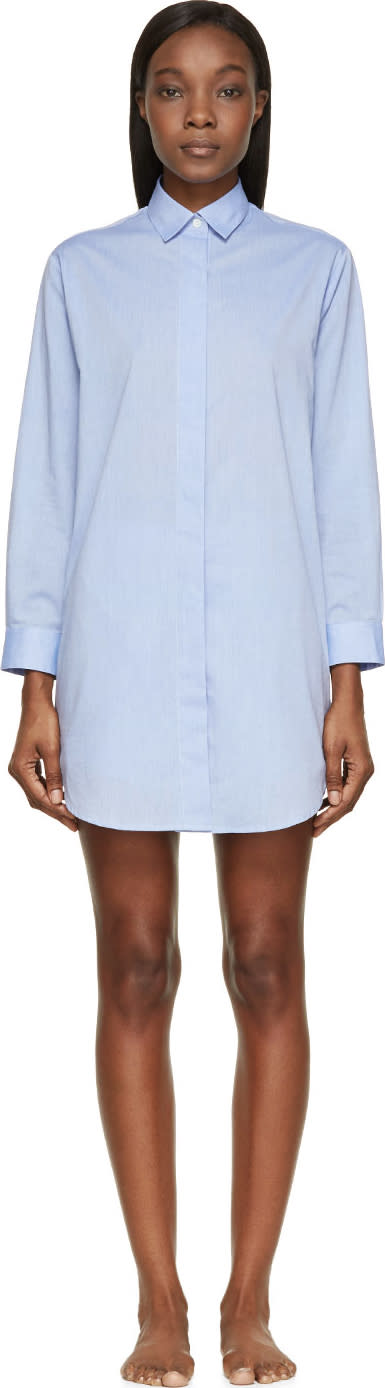 Raphaëlla Riboud Blue Cotton and Lace Marilyn Night Shirt