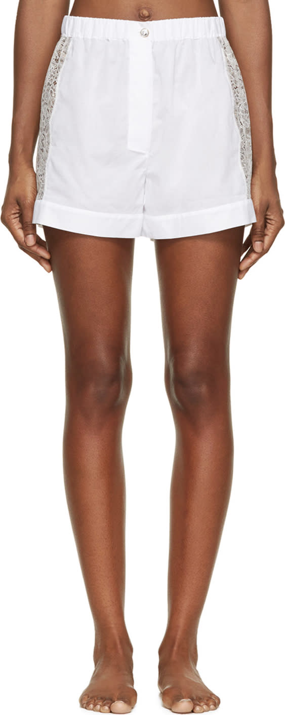 Image of Raphaëlla Riboud White Cotton and Lace Fred Shorts