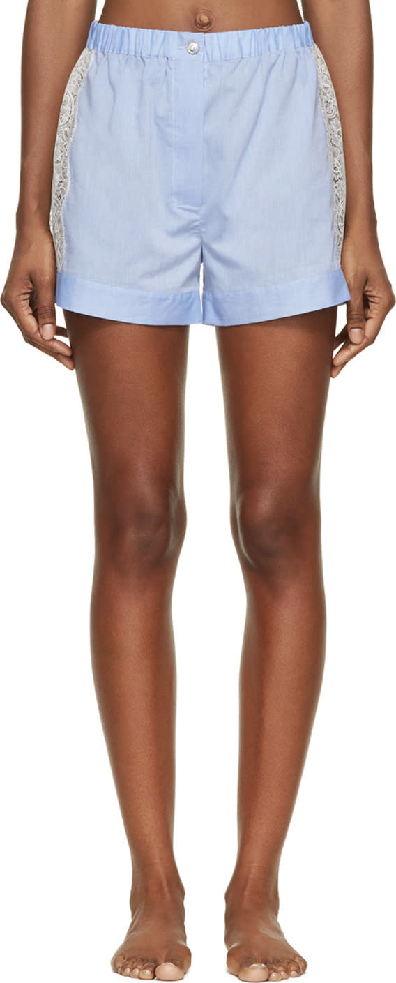 Raphaëlla Riboud Blue Cotton and Lace Fred Shorts