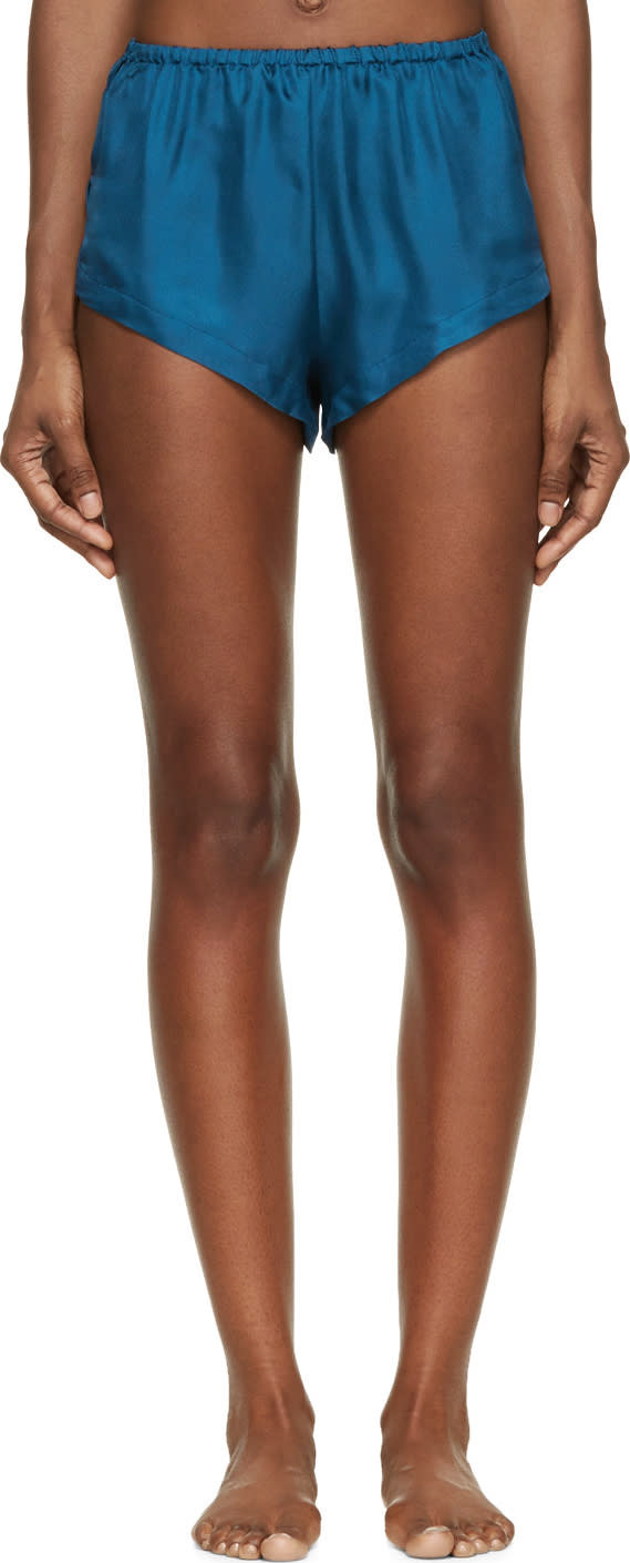 Raphaëlla Riboud Blue Silk Twill Yves Shorts