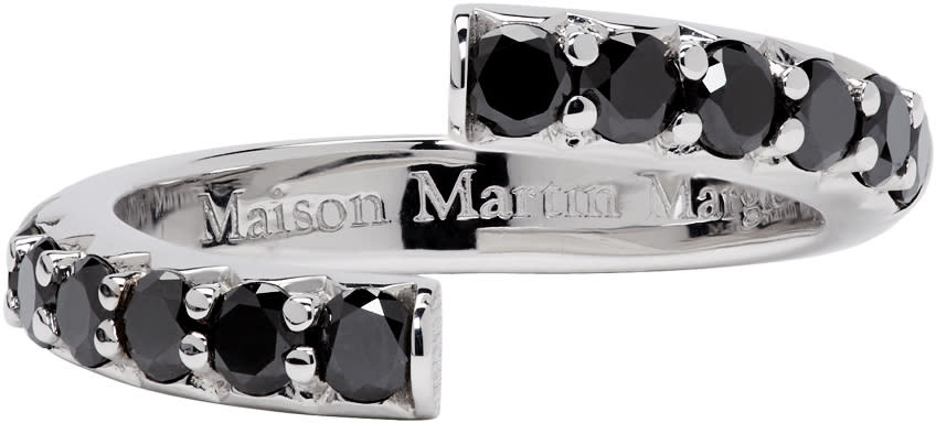 Maison Margiela Fine Jewellery White Gold Half-pavé Diamond Alliance Split Ring