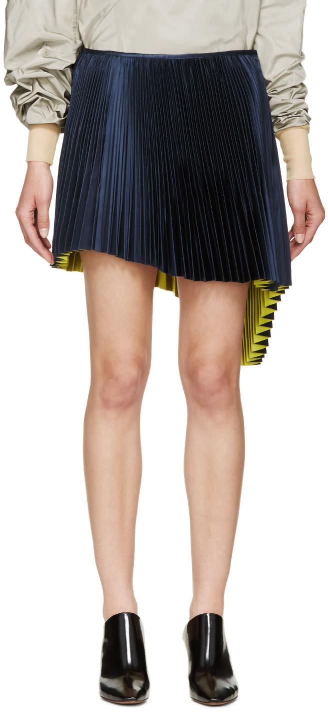 Thomas Tait Navy Pleated Asymmetrical Skirt