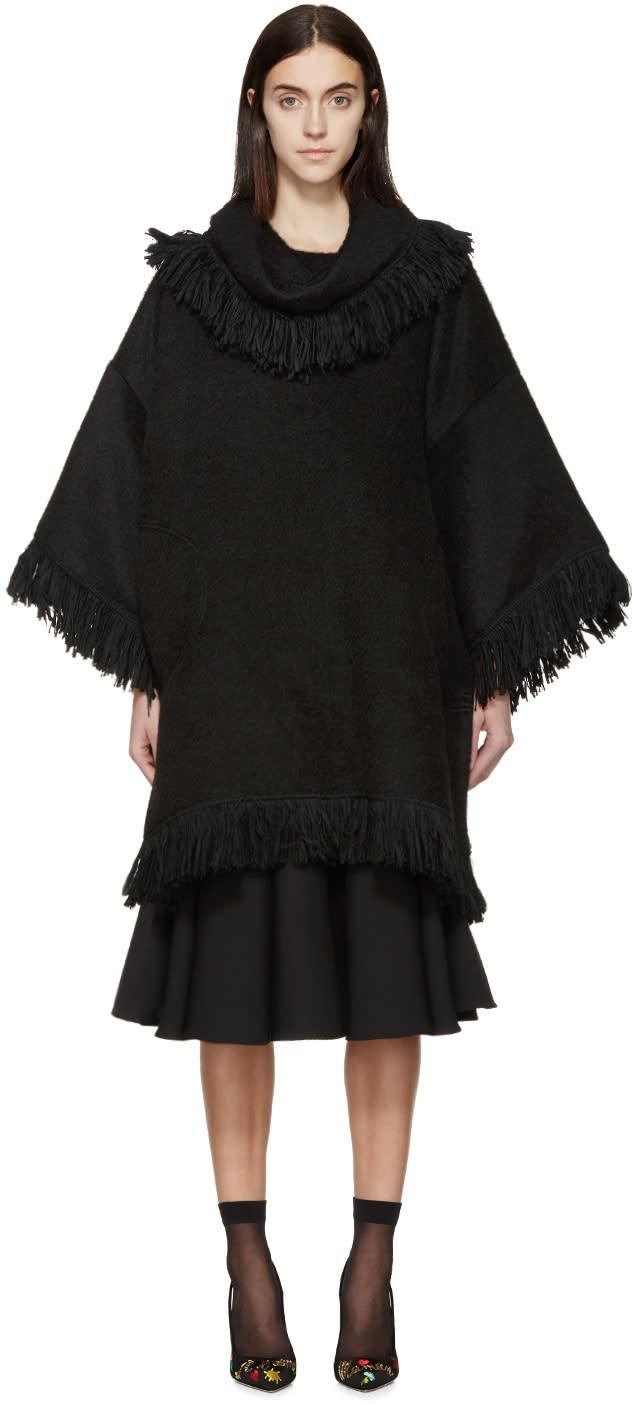 Dolce and Gabbana Black Alpaca Fringe Poncho
