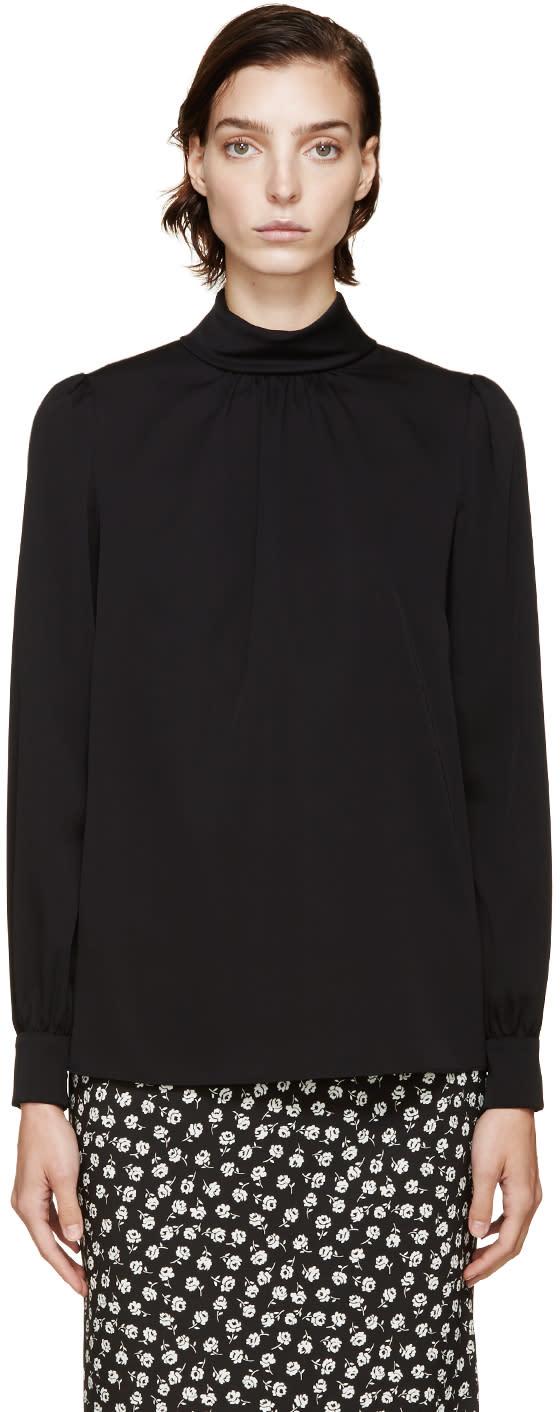 Dolce and Gabbana Black Stand Collar Silk Top