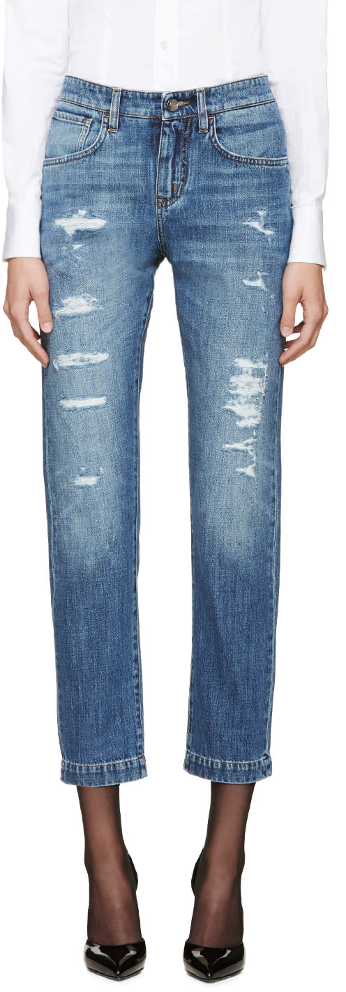Dolce and Gabbana Blue Ripped Boyfriend Jeans