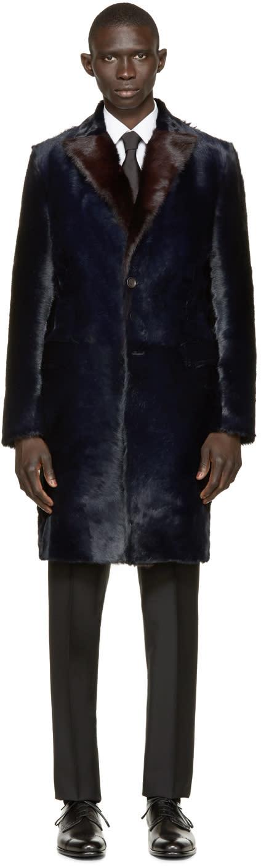 Dolce and Gabbana Navy Long Calf Fur Coat