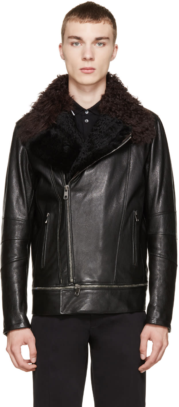 Dolce and Gabbana Black Shearling Biker Jacket