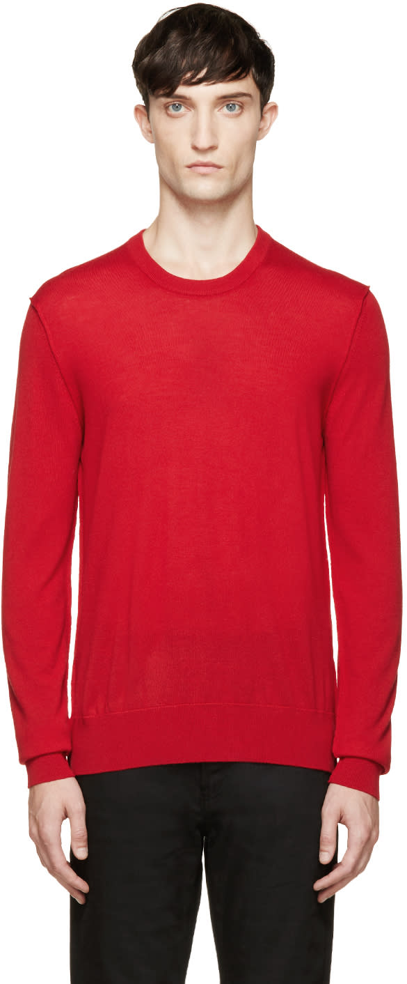 Dolce and Gabbana Red Wool Sweater