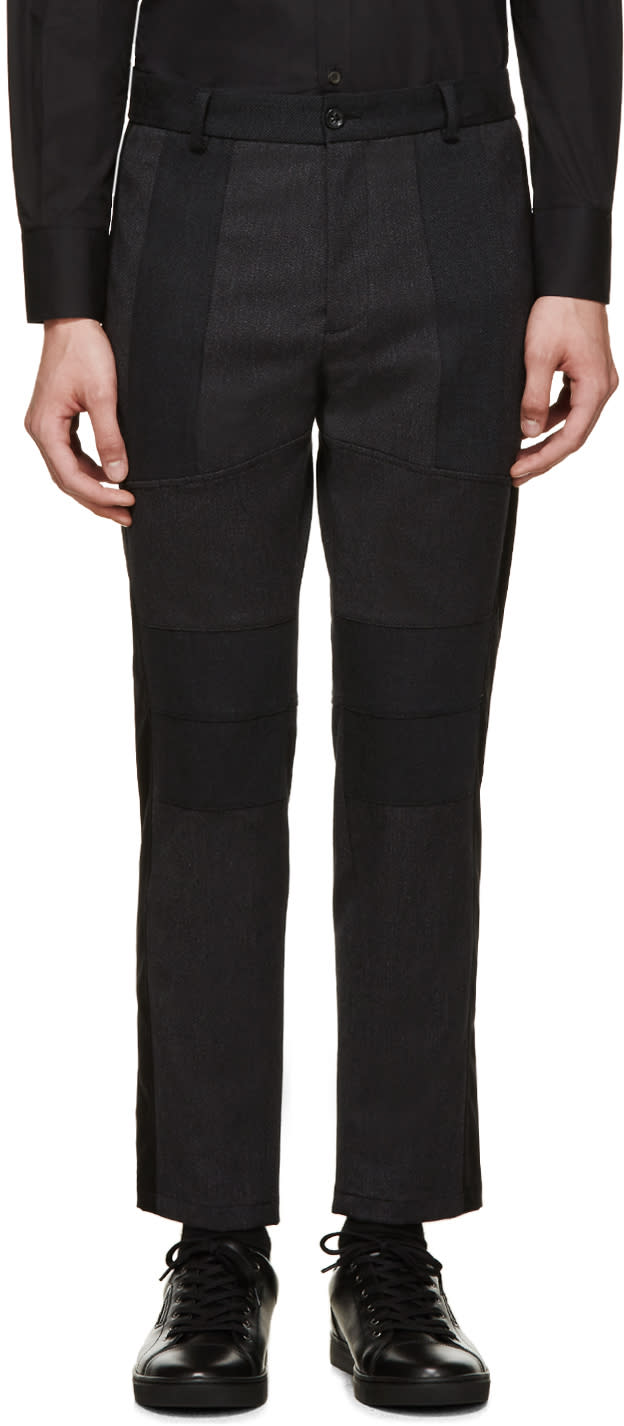 Dolce and Gabbana Charcoal Tweed Cropped Trousers