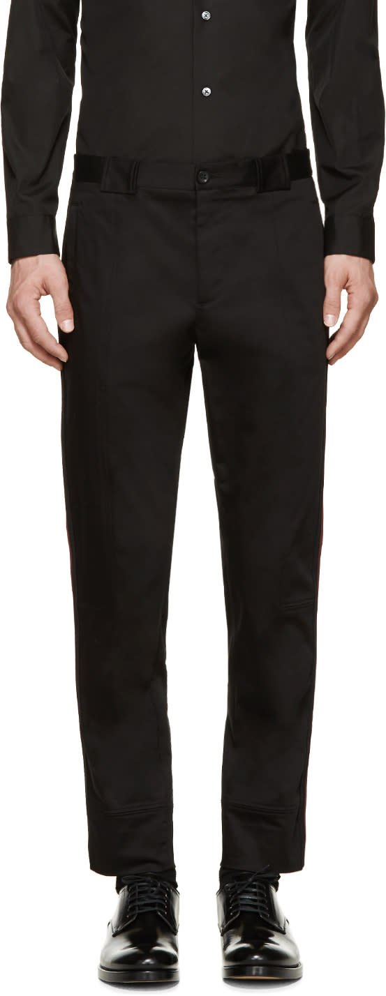 Dolce and Gabbana Black Accent Trim Cropped Trousers