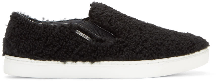 Dolce and Gabbana Black Shearling London Sneakers