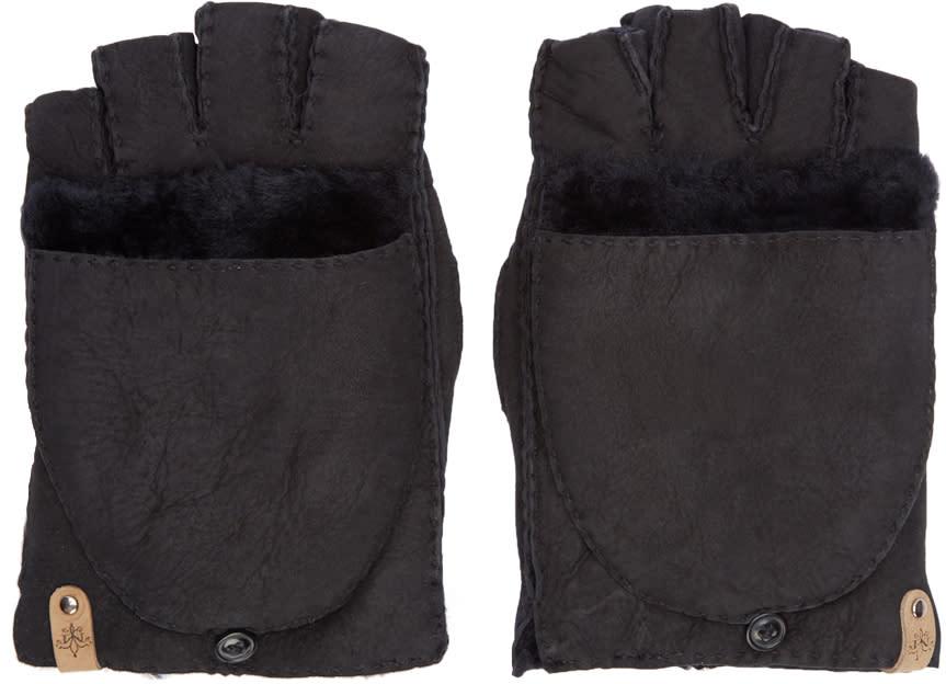 Mackage Black Shearling Lennon Gloves