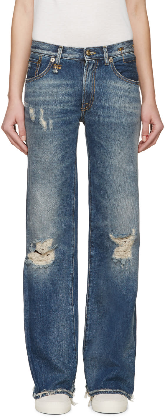 R13 Blue Faded and Distressed Jane Jeans