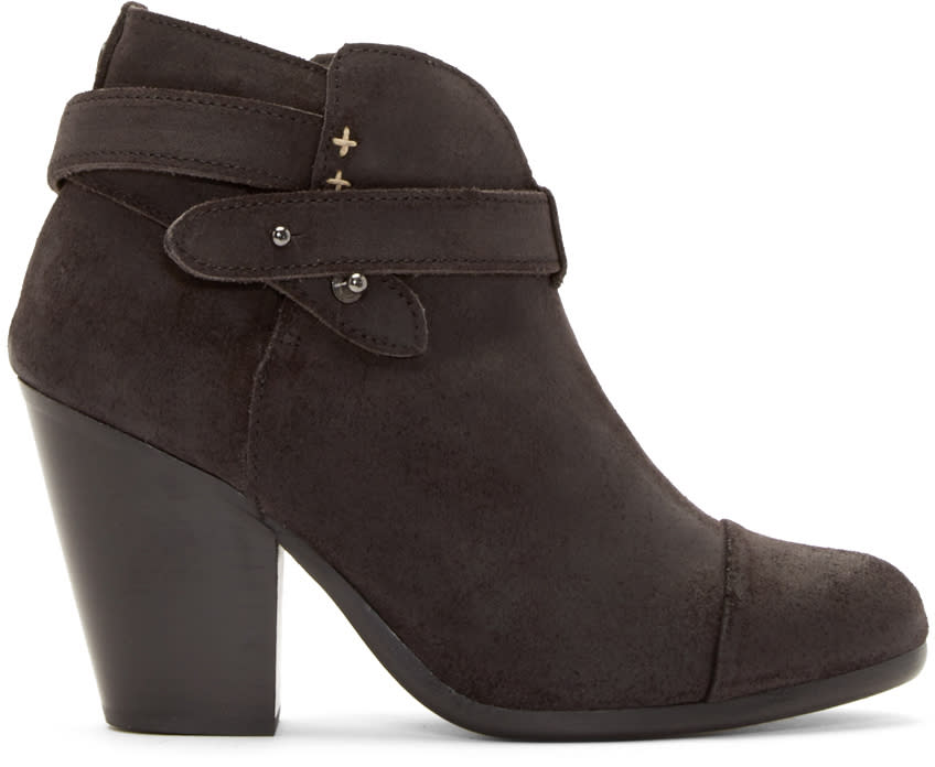 Rag and Bone Black Suede Harrow Ankle Boots