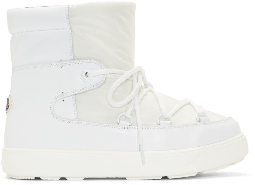 Moncler White Leather Fanny Ankle Boots