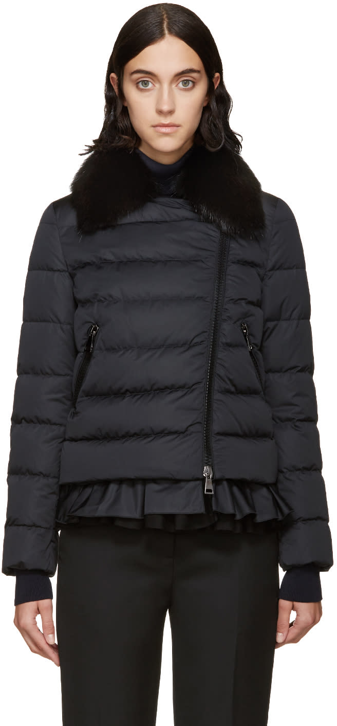 Moncler Black Down and Fur Chenonceau Jacket