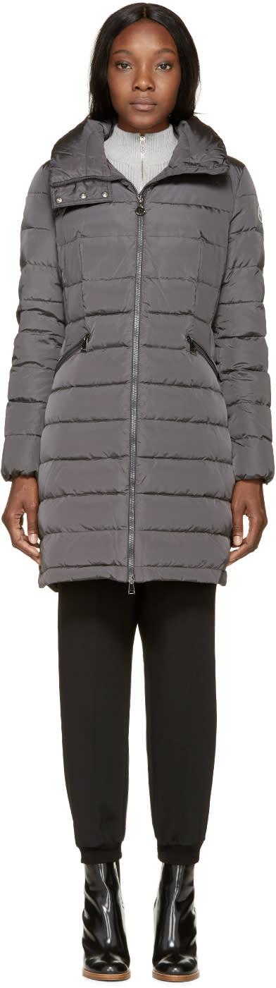 Moncler Grey Down Flammette Coat