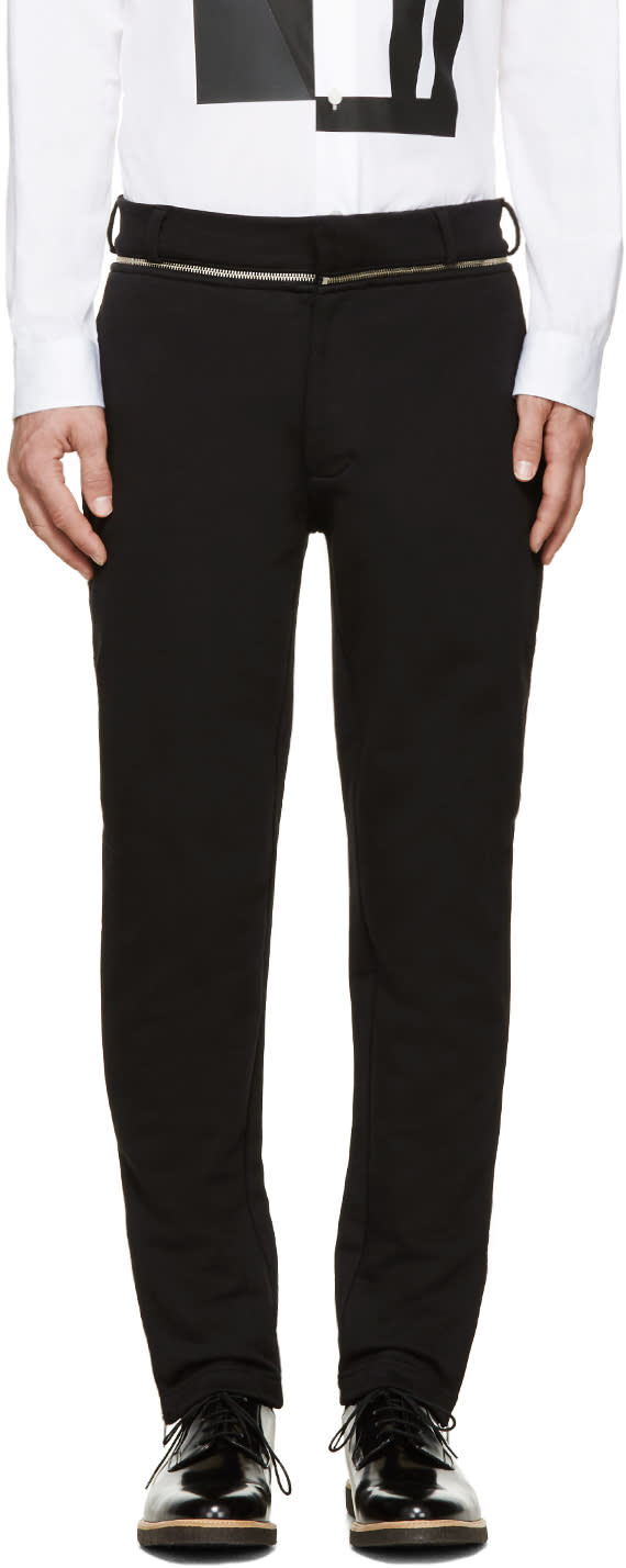 Mcq Alexander Mcqueen Black Zipper Trim Trousers