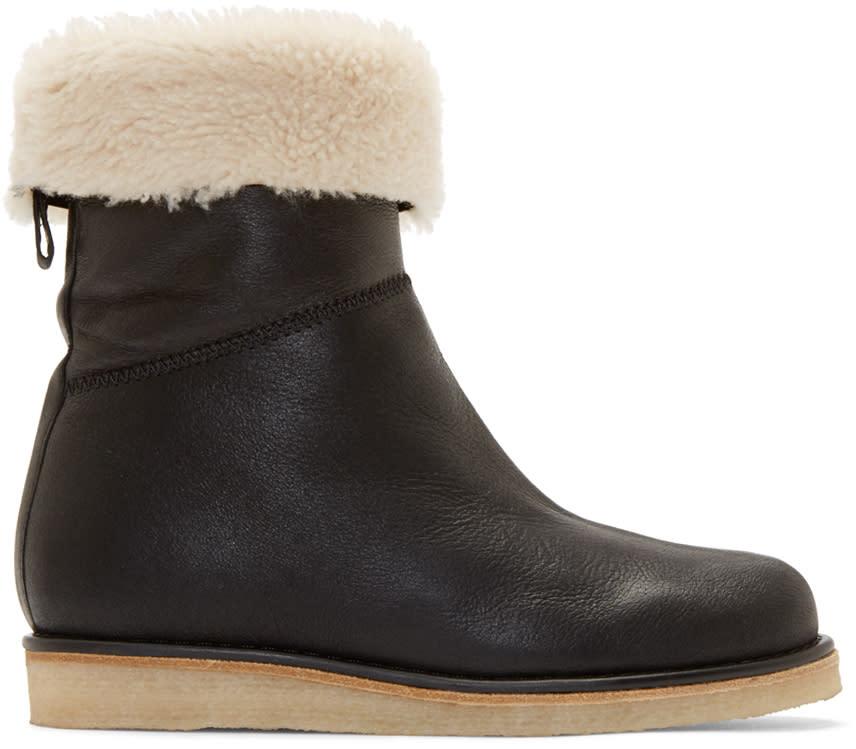 Acne Studios Black Shearling Ila Boots
