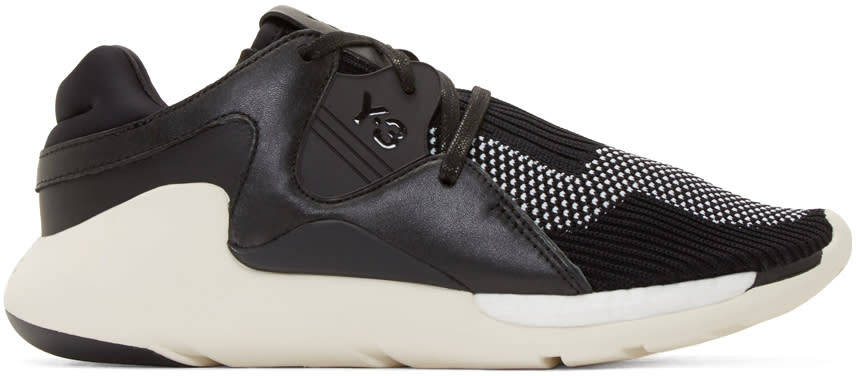 Y-3 Black and White Boost Qr Knit Sneakers