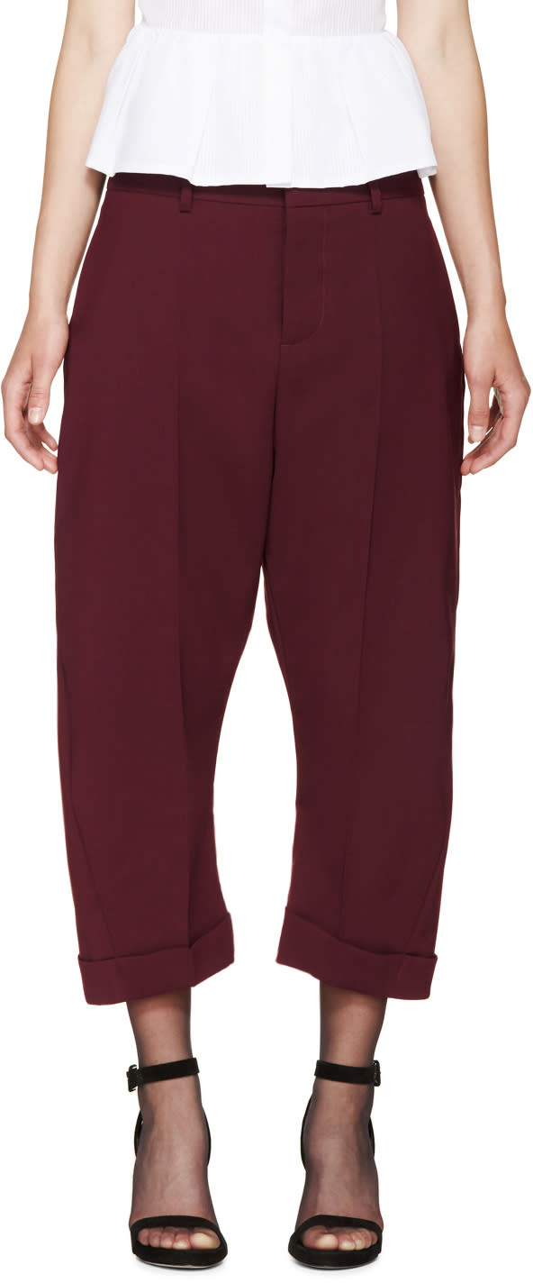 Dsquared2 Burgundy Cropped Kawaii Trousers