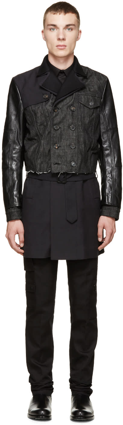 Dsquared2 Black and Navy Hybrid Peacoat