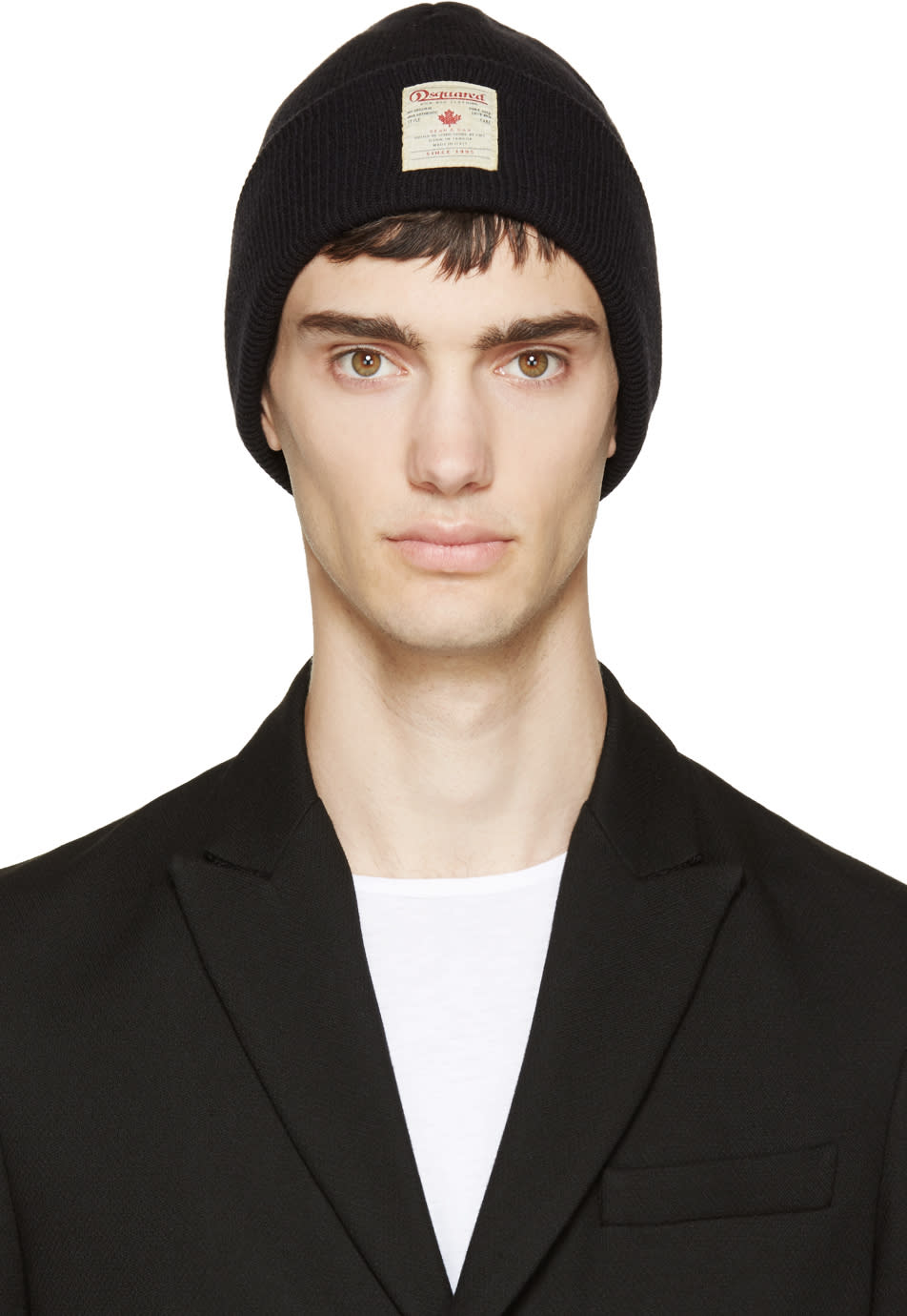 Dsquared2 Black Logo Patch Beanie