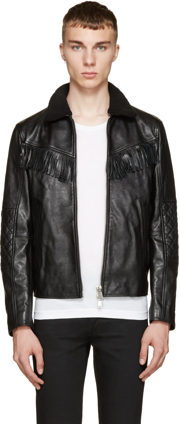 Dsquared2 Black Leather and Shearling Trapper Jacket