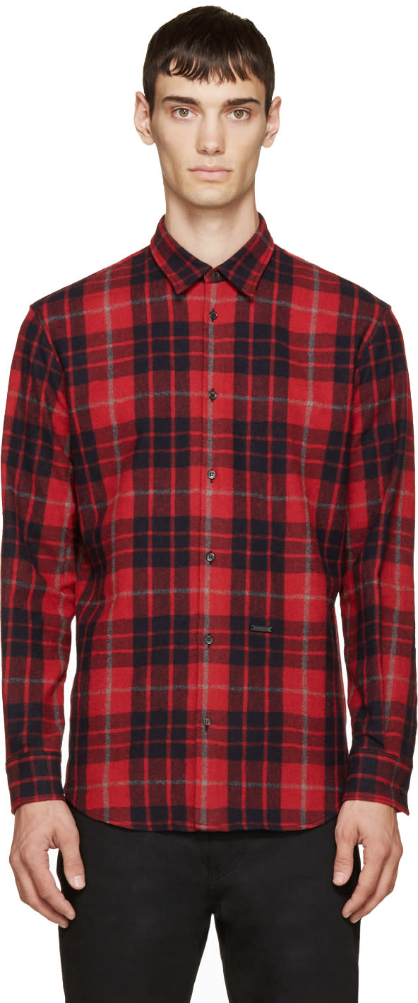 Dsquared2 Red and Navy Wool Plaid Relax Dan Shirt