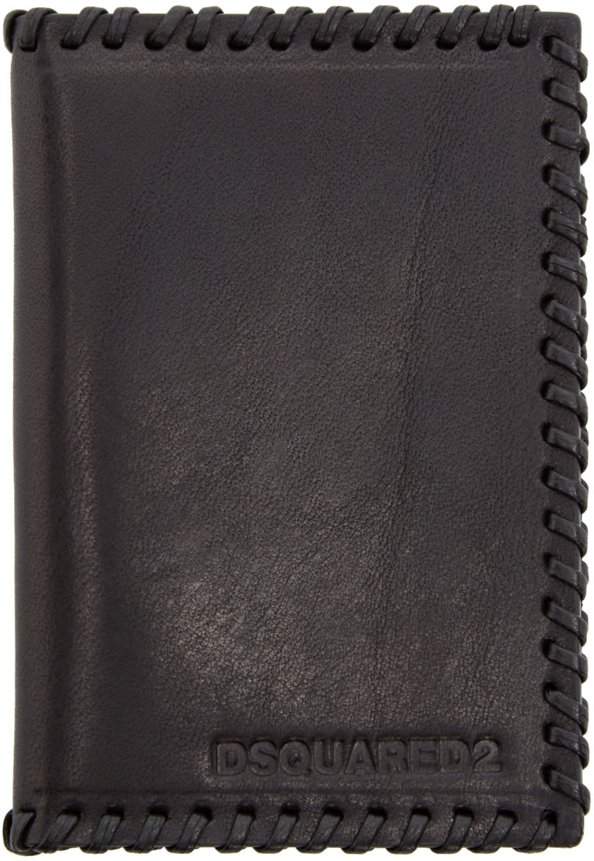 Dsquared2 Black Leather Stitch Card Holder